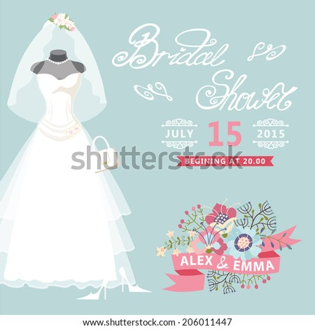 Bridal shower card with floral elements.The composition of wedding dresses ,Bridal veil, bouquet,handbags and high heel shoes.Vintage wedding invitation.Fashion vector Illustration - stock vector