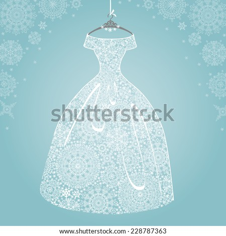 Bridal shower dress,Winter invitation card.Openwork wedding dress.Snowflakes lace fabric.Christmas,New Year party.Fashion vector Illustration.Falling snowflakes background. - stock vector