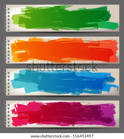 4 bright banners with hand drawn brush strokes - stock vector