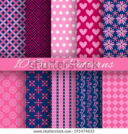10 Bright girl vector seamless patterns (tiling). Pink and blue colors. Endless texture can be used for printing onto fabric and paper or scrap booking. Heart, floral, stripe and dot shape. - stock vector