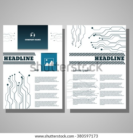 Brochure blue technology  Flyer design Layout template infographic eps 10 - stock vector
