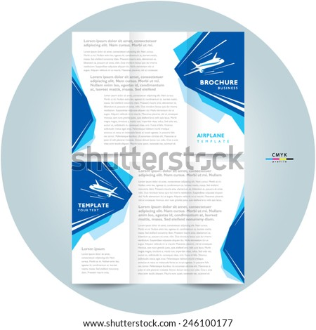 brochure design template tri-fold airplane flight takeoff blue white color travel transportation - stock vector