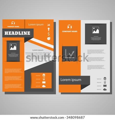 Brochure Flyer design Layout template.infographic  orange bg  eps 10   - stock vector
