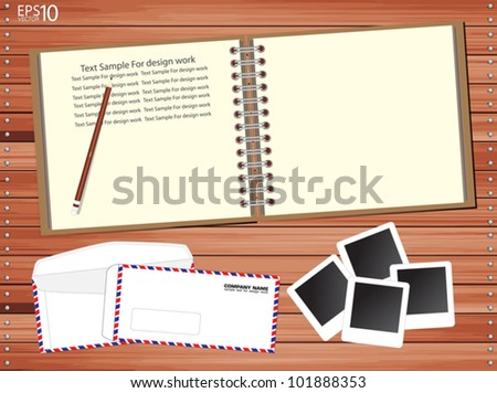 Brown Notebook with a lot of photos and envelopes on wooden floor, Vector template - stock vector
