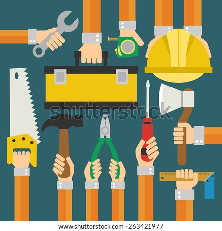 Builders Modern flat background with hand .Vector illustration - stock vector