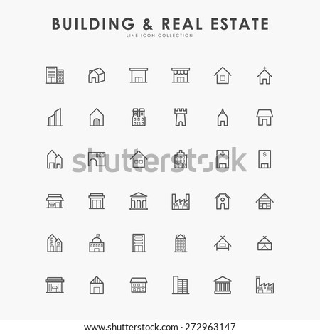 36 building and real estate line icons - stock vector