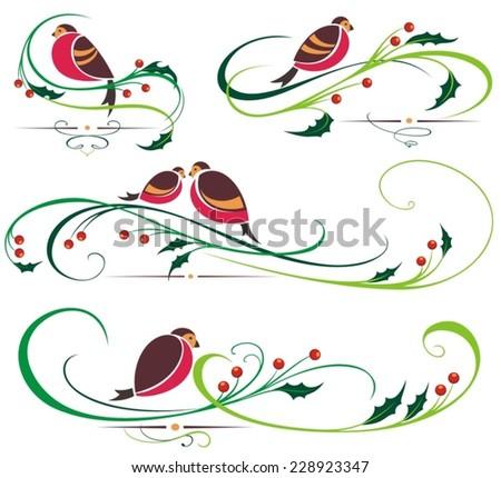 Bullfinch and Christmas ornaments - stock vector