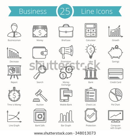 25 Business and finance line icons, vector eps10 illustration - stock vector