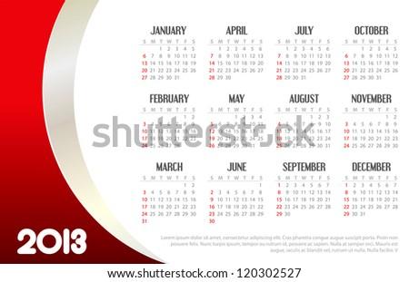 2013 Business Calendar - stock vector