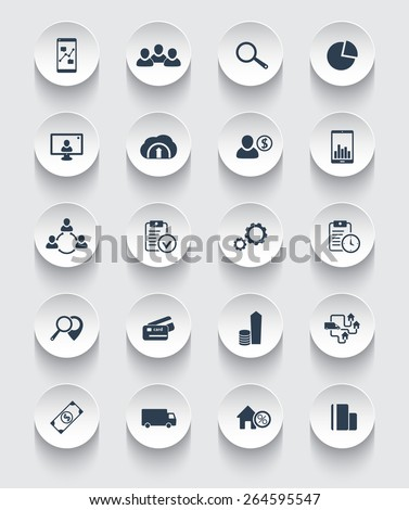 20 business, commerce, finance, 3d round icons, vector illustration, eps10, easy to edit - stock vector