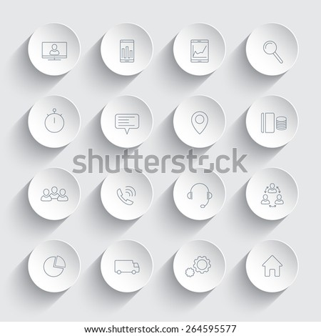16 business, commerce, finance, line icons on 3d round shapes with shadows, vector illustration, eps 10, easy to edit - stock vector