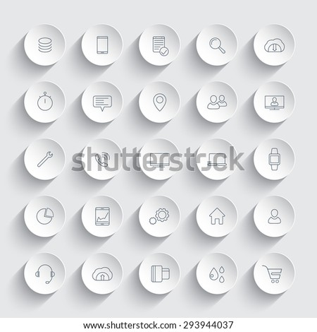 25 business, commerce, line icons on round 3d shapes, vector illustration, eps10, easy to edit - stock vector