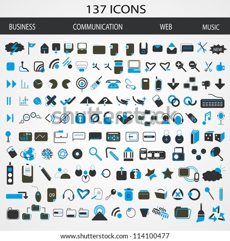 137 Business, Communication, Web and Music Icons. Vector illustration - stock vector