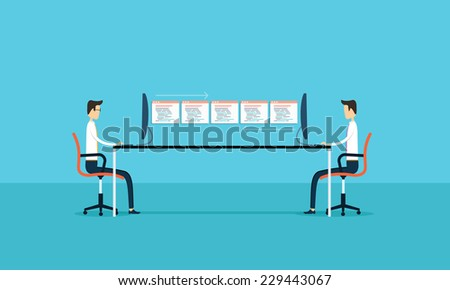 business connection develop and maintenance application . vector illustration - stock vector