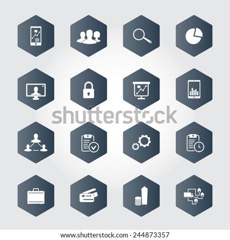 16 business hexagonal icons vector illustration, eps10, easy to edit - stock vector