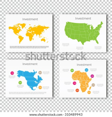 Business Investment slide set of USA, North America, Africa Maps Presentation slide Template, Business Layout design, Modern Style. For your next commercial projects or personal use. - stock vector
