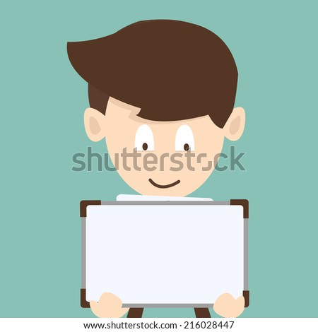 business man holding sign - stock vector