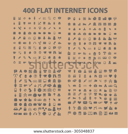 400 business, media, application, travel, family, health, communication flat icons, signs, illustration concept, vector - stock vector