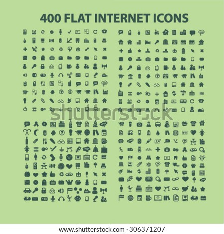 400 business, media, technology, communication, travel icons, signs, illustrations  - stock vector