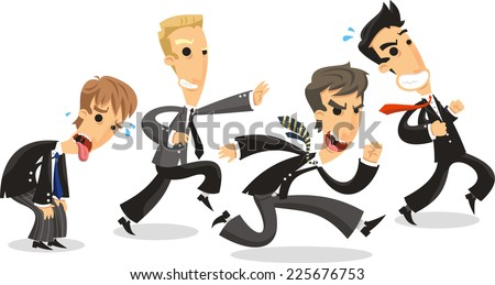 4 Business men dressed Elegant with Formal Suit and tie, running to battle business contend. Vector illustration cartoon. - stock vector