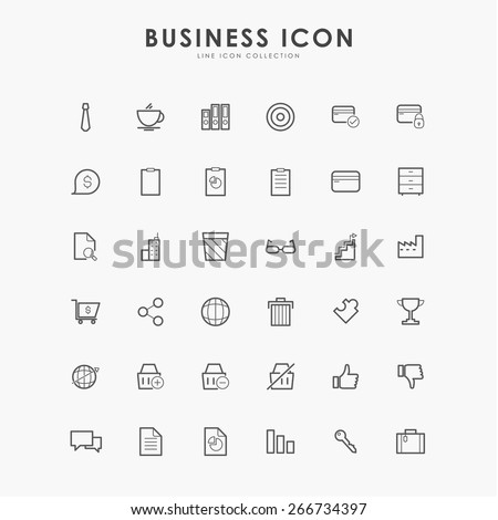 36 business minimal line icons - stock vector
