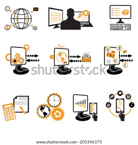 Business, office and marketing items icons. - stock vector