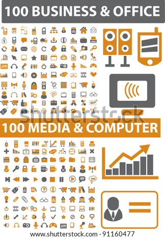 200 business & office & media & computer icons set, vector illustration - stock vector