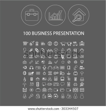 100 business outline flat isolated web icons, signs, illustrations set, vector - stock vector