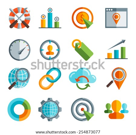 Business, SEO and Social media marketing Set of flat design icons  - stock vector