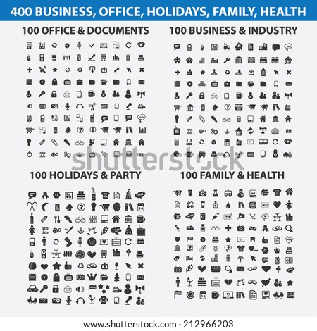 400 business, travel, media, website, internet, holidays, health, party, office, documents isolated icons, signs, symbols, illustrations, silhouettes set, vector - stock vector