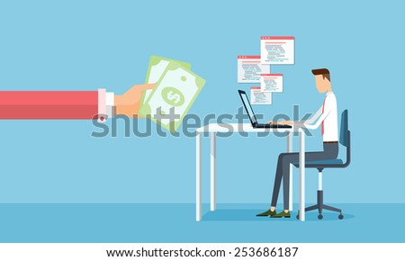 business working and making earnings from business on line .people business cartoon character - stock vector