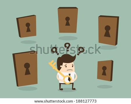 Businessman choosing the right door - stock vector