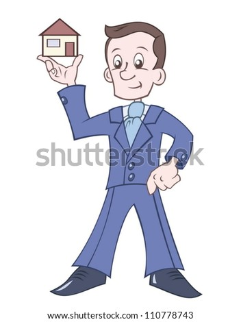 Businessman is holding house in the hand - stock vector
