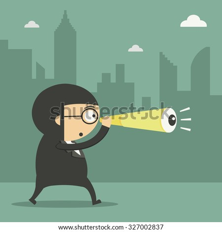 Businessman looking through spyglass to the future before abyss. - stock vector
