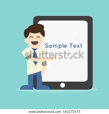 Businessman pointing to the screen of a tablet-pc - stock vector