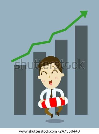 businessman  safety  lifebuoy  investment  for  rich .   cartoon vector - stock vector