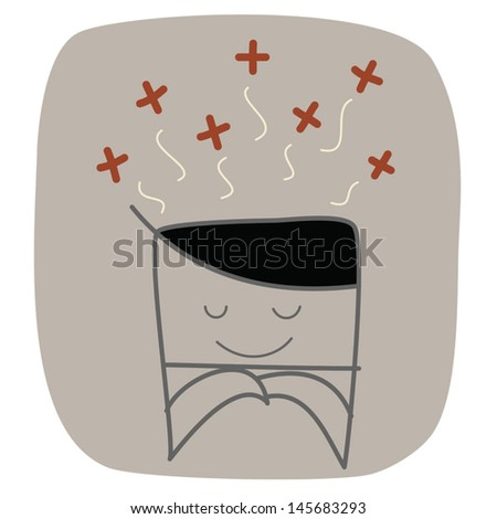 businessman thinking positive - stock vector