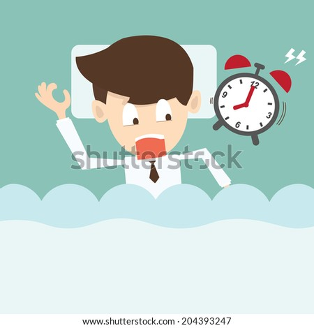 businessman  with alarm clock lateness or a deadline - stock vector