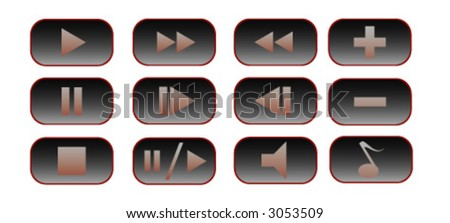 12 buttons for a media player - stock vector