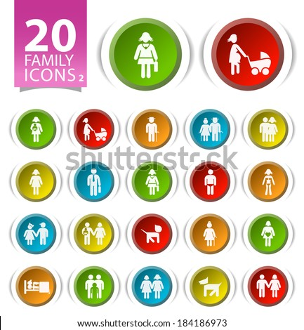 20 Buttons with Flat Family Icons on White Background 2. - stock vector