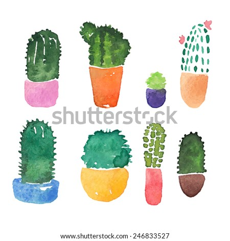 8 Cactuses Icons Set. Cute Watercolor Cactuses On White Background. - stock vector