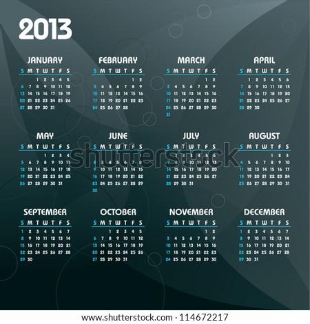2013 Calendar. - stock vector