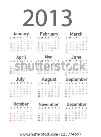2013 calendar - stock vector