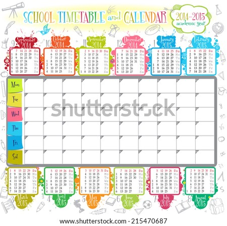 School Timetables 2015 2014 2015 Calendar And School