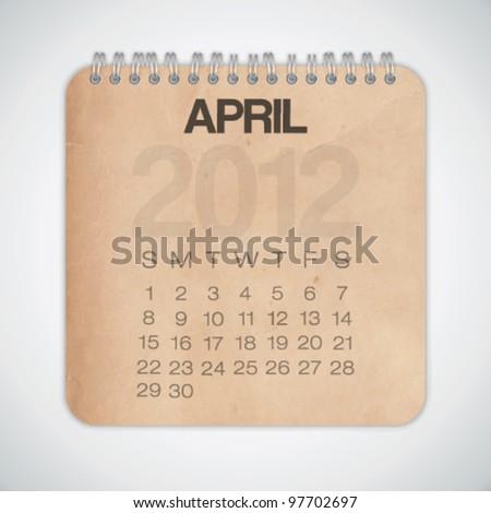 2012 Calendar April Old Texture Paper Vector - stock vector