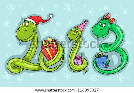 2013 calendar cover illustration with cartoon snake family. (12 months illustrations  are also available in portfolio) - stock vector