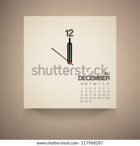 2013 Calendar December Clock Design Vector - stock vector