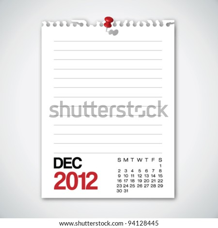 2012 Calendar December Torn Edges Paper Vector - stock vector
