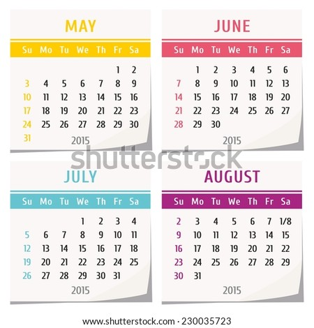 2015 calendar design - set of four months (may, june, july, august ...