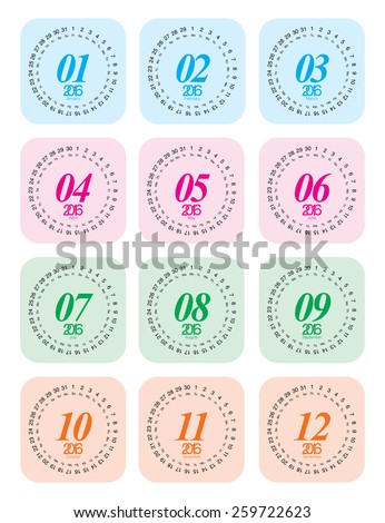2016 calendar, each month on one page, designed as circular - stock vector